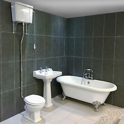 Petworth Traditional Roll Top Bath Suite High Level Toilet Bathroom Suite Claw