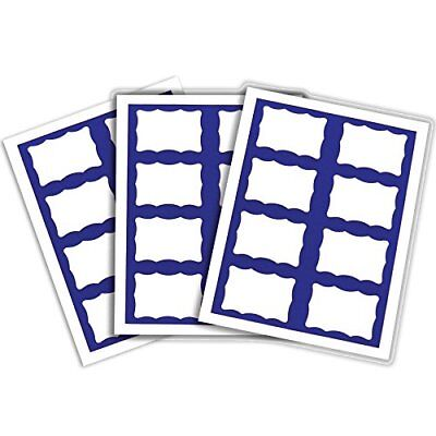 C-Line Pressure Sensitive Inkjet/Laser Printer Name Badges Blue Border 3.38 x 2.