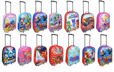 Kids Childrens Character Travel pack Trolley With Wheels