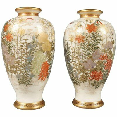 Pair of Antique Japanese Gilt & Hand-Painted Satsuma Cabinet Vases, circa 1900