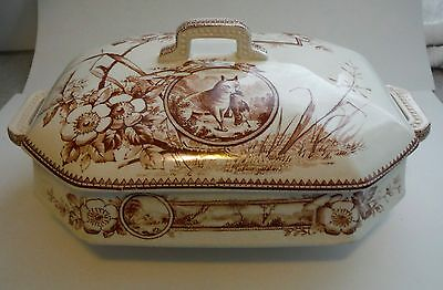ANTIQUE COVERED TUREEN / CASSEROLE / Brown Transferware Fox with Duck / Windmill