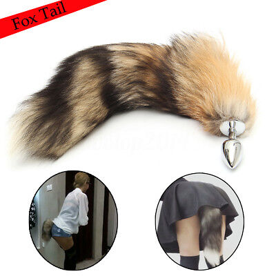 Funny Fox Tail With Stainless Steel Plug Female Male Romance Game Toy Soft Fur