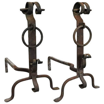 Antique Old World England Hand-Forged Iron Fire Place Andirons Pair, c1820