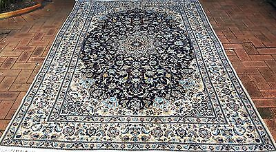Persian Nain 6 La Authentic Hand-Knotted Wool and Silk Rug