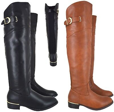 Ladies Womens Over The Knee Boot Wide Calf Fit Elasticated Flat High Boots Size