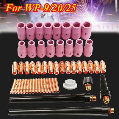 53PCS TIG Welding Torch Body Accessory Gas Lens Nozzle Cup Collet For WP 9 20 25