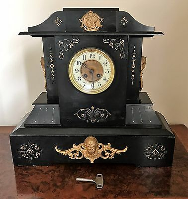 A Large Antique Late Victorian Slate Mantel Clock by Foster Tamworth with key