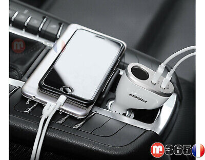 PISEN Chargeur voiture USB double 2 ports allume cigare Iphone Samsung huawei