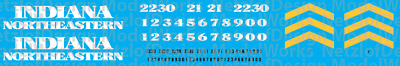 HO Scale - Indiana Northeastern GP30 Locomotive Decals