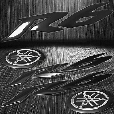 "6"" ABS Black 3D Logo Emblem+2""Fairing/Fender Badge Sticker for YZF-R6/R6S Chrome"