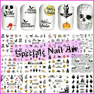 Water decals transfer halloween teschio stickers adesivi decorazione unghie nail
