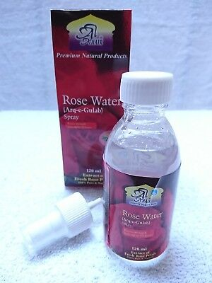 Rose Water Spray 100% Pure Extract of Fresh Petals 120 ml AL KHAIR  with Spray