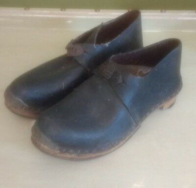 Rare antique 19th century Welsh folk art pit clogs arvon brand leather wooden