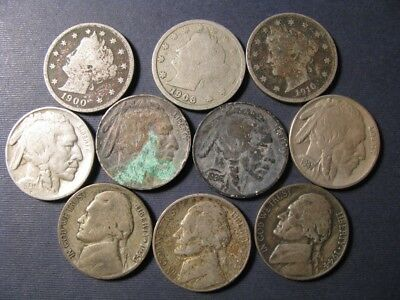 Nickel Lot Of 10 Mixed Date/mint Liberty, Buffalo & Silver Jeffersons