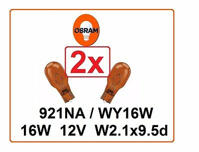 2x 921NA 16W 12V OSRAM WY16W orange Indicator W2.1 x 9.5d Glass base yellow