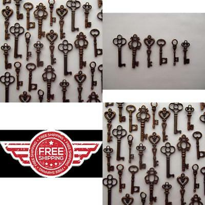 48 Assorted Vintage Style Antique Skeleton Furniture Cabinet Old Lock Key Copper