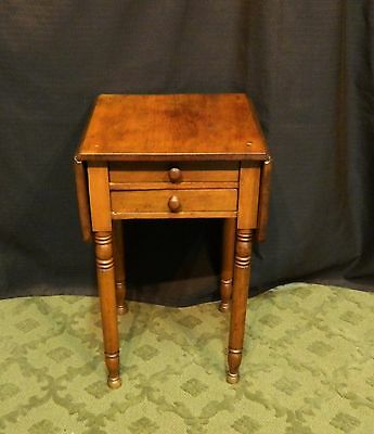 2 Drawer American Antique 19th Century Drop Leaf Side Table LOCAL PICKUP & USHIP