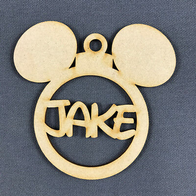 MDF Christmas Tree Decoration BAUBLE DISNEY EARS MICKEY PERSONALISED with NAME