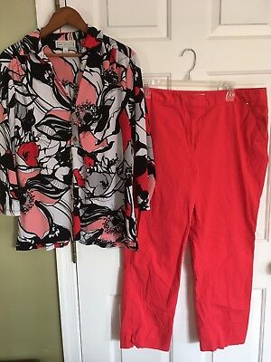 Dana Buchman 2PC Set/Outfit Large Top, Size 14 Capris