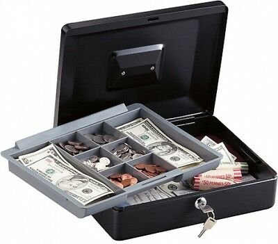 12 in Large Black Money Key Lock Box Storage w Removable Cash Bill Coin Tray New