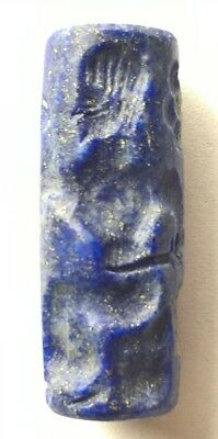 Very Rare Near Eastern Stone Cylinder Bead Seal: Warriors And Flowers 600-400Bc