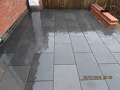Slate Patio Slabs >> Slate Paving Slabs Patio Floor Tiles Black 100x100
