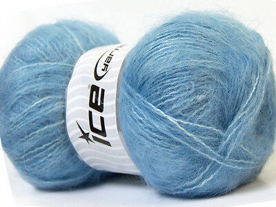 Lot of 4 x 100gr Skeins Ice Yarns MOHAIR Knitting Wool Sky Blue