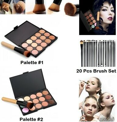 15 colors Concealer foundation palette face contour makeup set cream brush