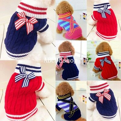 Dog Pet Puppy Warm Clothes Coats Apparel Jumper Sweater Knitwear Costume Bow