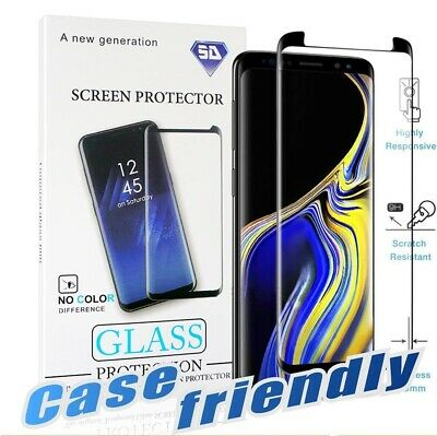 3D Curved Case-Friendly Samsung Galaxy Note 9,Note 10,S9 S8 HD Tempered Glass