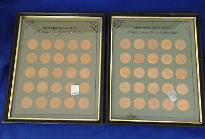 #1053 - Bronze Franklin Mint Antique Car Collection Series 1 in frame - Lot of 2