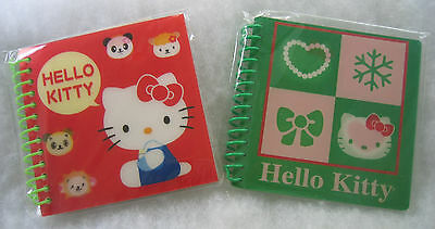 "2 Hello Kitty Lenticular Spiral Notebooks 4""x4"" Green 40 Sheets Red 60 NEW"