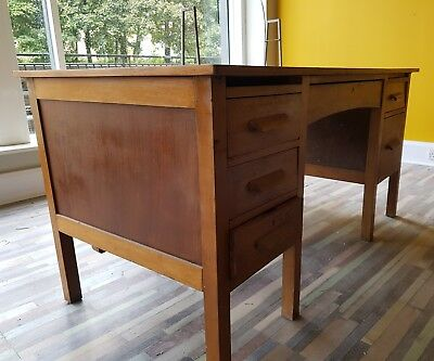 1930s oak school teachers desk