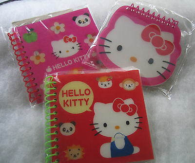 "Three Hello Kitty Lenticular Spiral Notebooks 4""x4"" 60 sheet Red Pink Winks NWT"