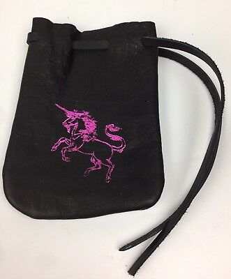 Black Cow Hide Leather Pull String Pouch Unicorn Foil Stamped Multi Use