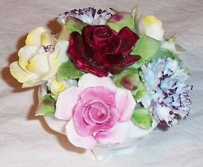 Royal Doulton Bone China  Floral Arrangement In Basket Vase - Very Good Cond