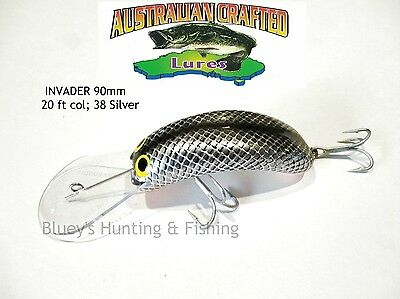 Australian Crafted Lures- cod 90mm invader Carp silver col;38 20ft a.c.lures