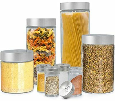 Estilo 8 Piece Glass Canisters And Spice Jar Set with Stainless Steel Screw On