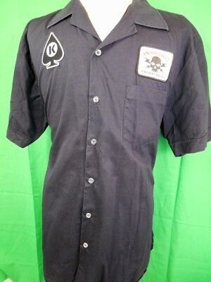 Black Cotton Knucklehead Shipping Retro Short Sleeve Embroidered Work Shirt XXL