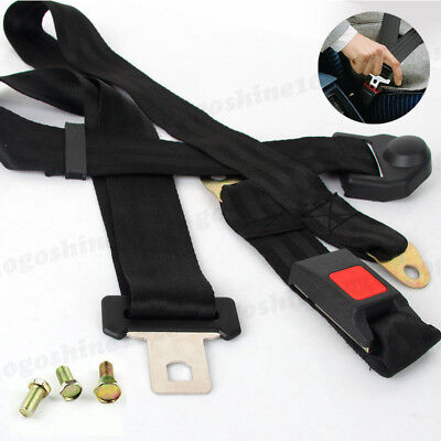 Black Auto Car Safety Seat Belt Lap Kit Universal 3 Point Adjustable Retractable