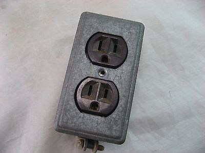 Rodale Electrical Outlet Double W/Metal Cover 3-Prong Heavy Duty Vintage
