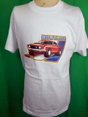 Vintage 1980s White Poly/Cotton USA Made Mustang Iron-On Screen Stars T-shirt L