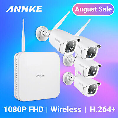 ANNKE 1080P Wireless Security 2MP IP Camera System 8CH NVR Antenna HD Video CCTV