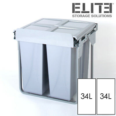 68L Twin Pull Out Kitchen Waste Bin Slide Out Rubbish Garbage - 600mm Cupboard