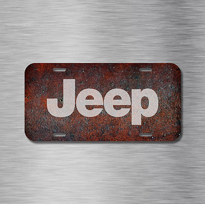 Vintage Jeep Vehicle Front License Plate Auto Car Tag Wrangler TJ YJ Rustic