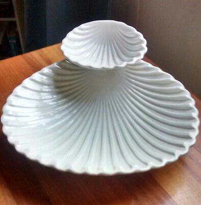 Vintage White Porcelain Clam Shell Serving Dish-Made in Italy