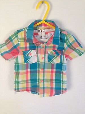 Pumpkin Patch Western Style Cowboy Short Sleeve Check Shirt Size 3 - 6 months