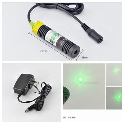 DC5V 532nm 10mw Green Dot Ray Laser Diode Module w AC Adapter Power 18x75mm