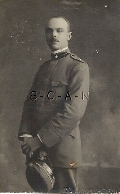 WWI Italian Large Real Photo PC- Royal Army- Officer- Uniform- Hat- Portrait- 15