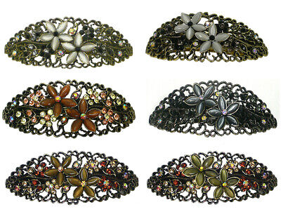 0cda98363 Bella Set of 3 Large Oval Barrettes Hair Clips, Catseyes/Crystals NM86010-1